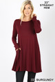 Front of Dk Burgundy Wholesale Long Sleeve Swing Tunic with Pockets