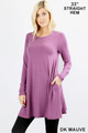 Front of Dk Mauve Wholesale Long Sleeve Swing Tunic with Pockets