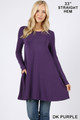 Front of Dk Purple Wholesale Long Sleeve Swing Tunic with Pockets
