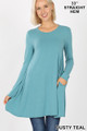 Front of Dusty Teal Wholesale Long Sleeve Swing Tunic with Pockets