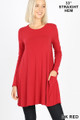 Front of Dk Red Wholesale Long Sleeve Swing Tunic with Pockets
