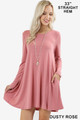Front of Dusty Rose Wholesale Long Sleeve Swing Tunic with Pockets