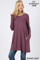 Front of Eggplant Wholesale Long Sleeve Swing Tunic with Pockets