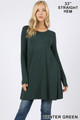 Front of Hunter Green Wholesale Long Sleeve Swing Tunic with Pockets