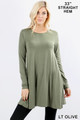 Front of Lt Olive Wholesale Long Sleeve Swing Tunic with Pockets