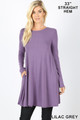 Front of Lilac Grey Wholesale Long Sleeve Swing Tunic with Pockets