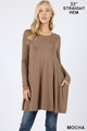 Front of Mocha Wholesale Long Sleeve Swing Tunic with Pockets