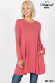 Front of Rose Wholesale Long Sleeve Swing Tunic with Pockets