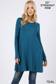 Front of Teal Wholesale Long Sleeve Swing Tunic with Pockets