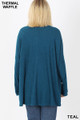 Back view of Teal Wholesale Brushed Thermal Waffle Knit Round Neck Hi-Low Plus Size Sweater