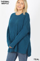 45 degree view of Teal Wholesale Brushed Thermal Waffle Knit Round Neck Hi-Low Plus Size Sweater