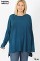 Front image of Teal Wholesale Brushed Thermal Waffle Knit Round Neck Hi-Low Sweater