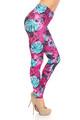 Wholesale Creamy Soft Vivid Tropical Leaves Plus Size Leggings - USA Fashion™