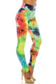 Wholesale Buttery Soft Summer Yellow Tie Dye High Waisted Leggings