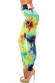Wholesale Buttery Soft Summer Yellow Tie Dye High Waisted Leggings - Plus Size
