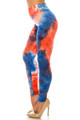 Wholesale Buttery Soft Red and Blue Tie Dye High Waisted Leggings