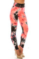 Wholesale Buttery Soft Coral Tie Dye High Waisted Leggings - Plus Size