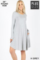 Wholesale Premium Long Sleeve A-Line Round Hem Plus Size Rayon Tunic with Pockets