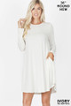 Wholesale Premium Long Sleeve A-Line Round Hem Rayon Tunic with Pockets