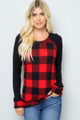 Red Wholesale Buffalo Plaid Contrast Solid Long Sleeve Plus Size Top