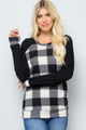 White Wholesale Buffalo Plaid Contrast Solid Long Sleeve Plus Size Top