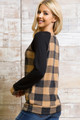 Mocha Wholesale Buffalo Plaid Contrast Solid Long Sleeve Plus Size Top