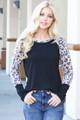 Wholesale Leopard Contrast Long Sleeve Rayon Plus Size Top
