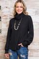 Black Wholesale Waffle Knit Cowl Neck Long Sleeve Plus Size Top