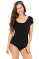 Black Short Sleeve Scoop Neck Cotton Bodysuit