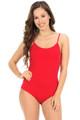 Red Wholesale Basic Solid Spaghetti Strap Cotton Bodysuit