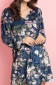 Navy Wholesale Velvet Floral Long Sleeve Gathered Cuff V-Neck Mini Dress