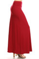 Wholesale Buttery Soft Solid Red Maxi Skirt
