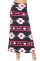 Wholesale Buttery Soft Mint on Black Aztec Tribal Maxi Skirt