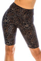 Wholesale Buttery Soft Black Floral Stencil Biker Shorts - 3 Inch Waist Band