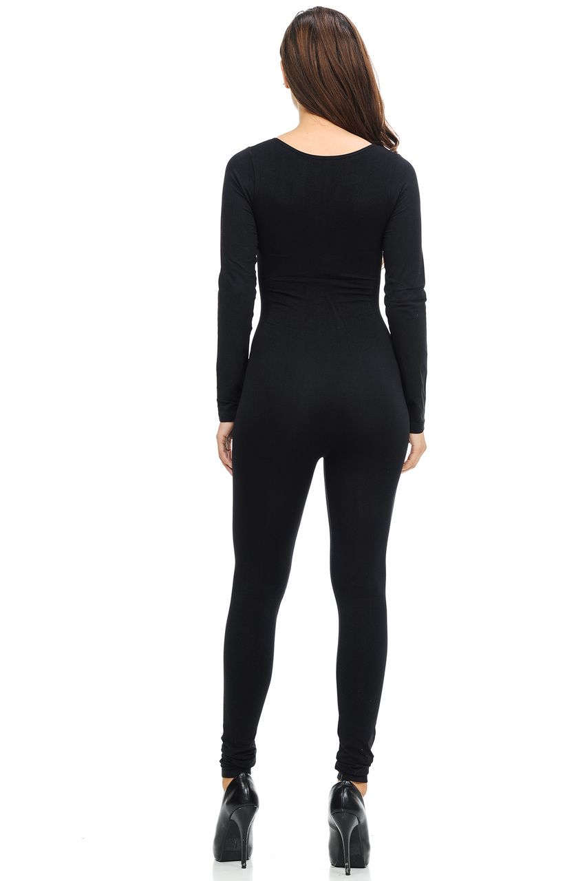 f9c17fc1e145 ... Back side image of Wholesale Basic Full Nylon Spandex Jumpsuit ...