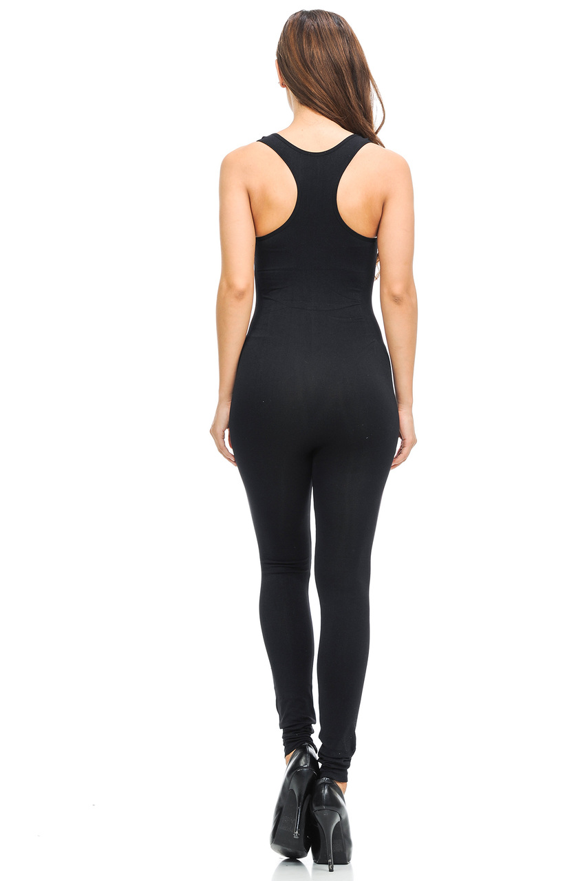 7772f6f6cace ... Back side image of Wholesale Basic Nylon Spandex Jumpsuit ...