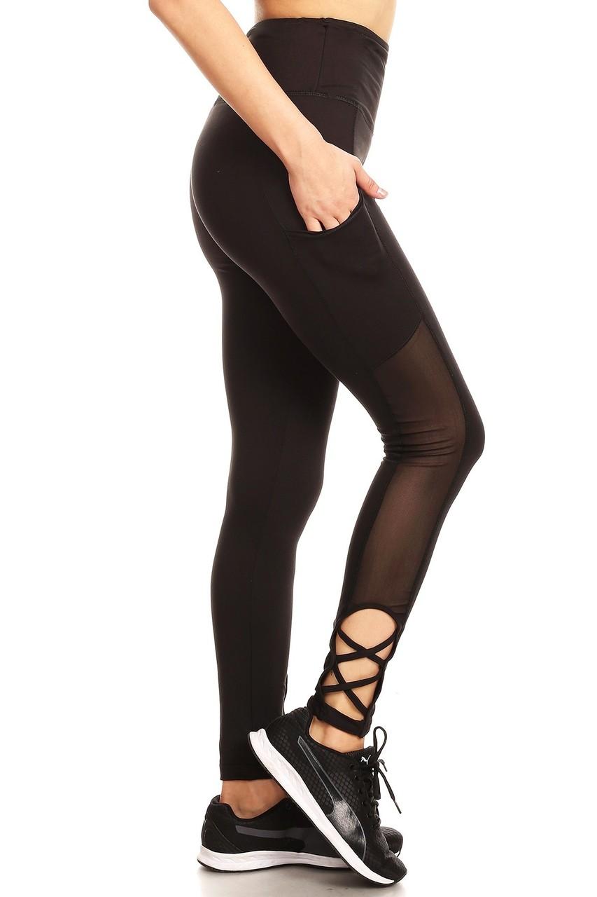 5948156e22b837 Wholesale Caged Ankle Side Mesh Women's Workout Leggings | Leggings ...