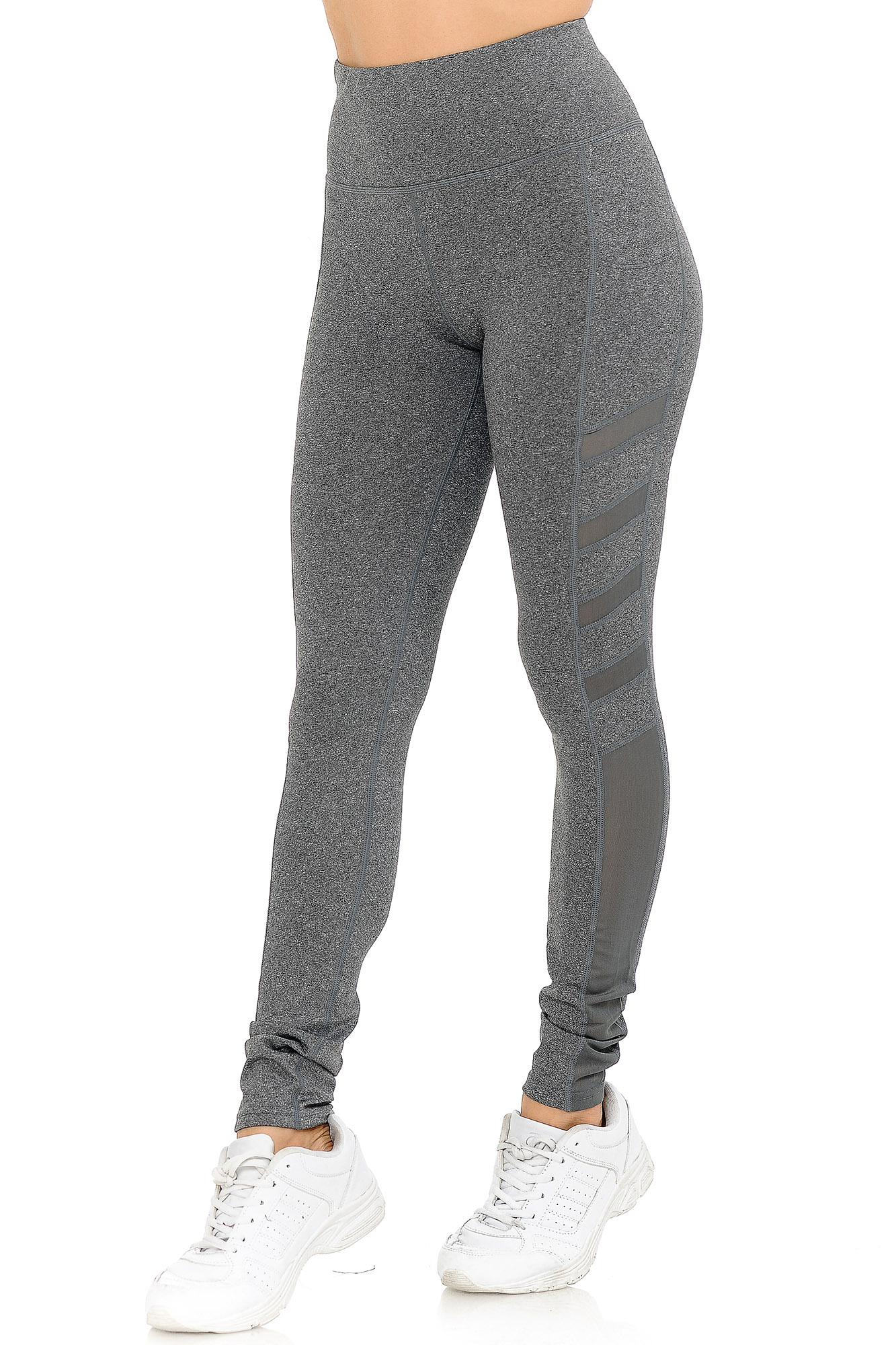 7f4cae0438 ... Charcoal Wholesale Fluid Motion High Waisted Side Mesh Workout Leggings  ...