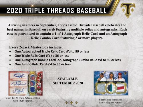 2020 Topps Triple Threads Baseball Hobby 18 Box Case