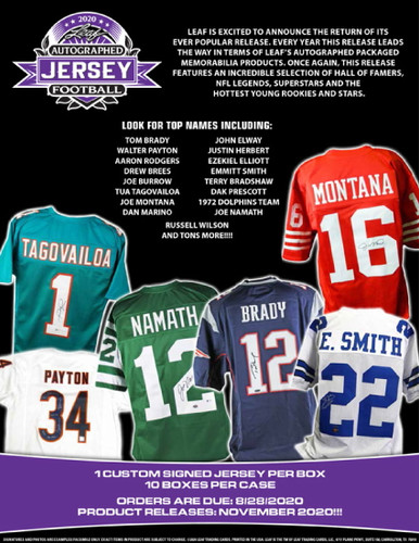 2020 Leaf Autographed Football Jersey Edition Hobby 10 Box Case