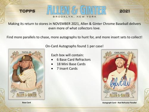 2021 Topps Allen & Ginter Chrome Baseball Hobby 12 Box Case