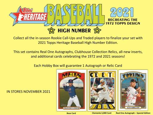 2021 Topps Heritage High Number Baseball Hobby 12 Box Case