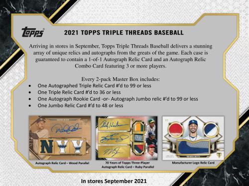 2021 Topps Triple Threads Baseball Hobby 18 Box Case