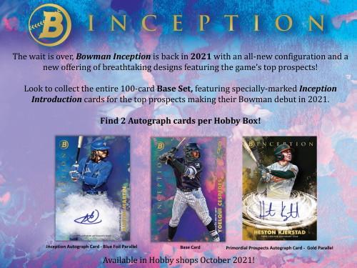 2021 Bowman Inception Baseball Hobby 16 Box Case
