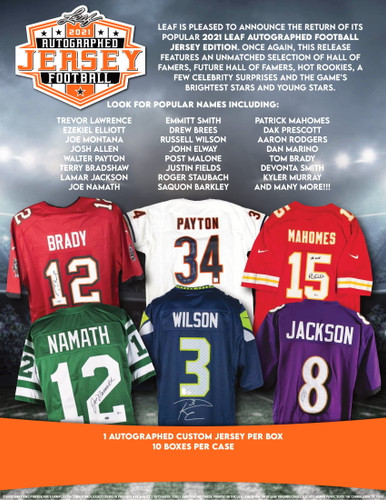 2021 Leaf Autographed Football Jersey Edition Hobby Box