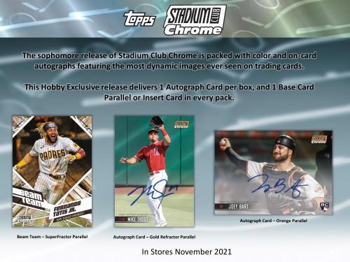 2021 Topps Stadium Club Chrome Baseball Hobby 7 Card Pack