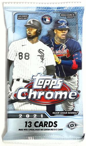 2021 Topps Chrome Baseball Jumbo Hobby HTA 13 Card Pack