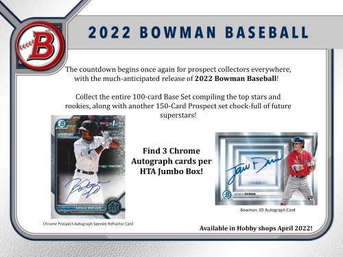 2022 Bowman Baseball Hobby Jumbo HTA 8 Box Case