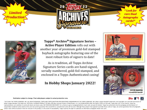 2022 Topps Archives Signature Series Baseball Active Player Edition Hobby 20 Box Case