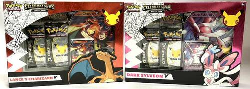 Pokemon: Celebrations Collection Lance's Charizard V & Dark Sylveon V Box - Set of 2